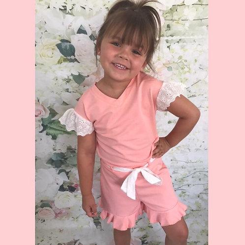 Pink/White Shorts Set