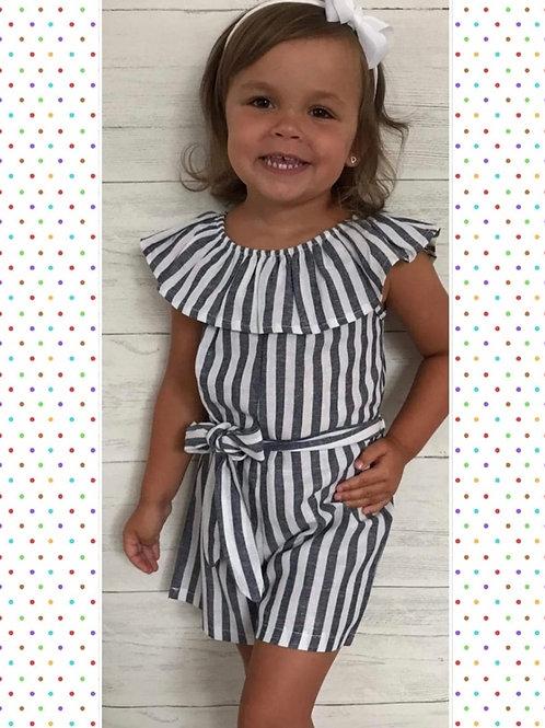 Girls linen blue/white play suit