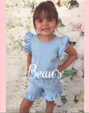Baby blue ruffle shorts set