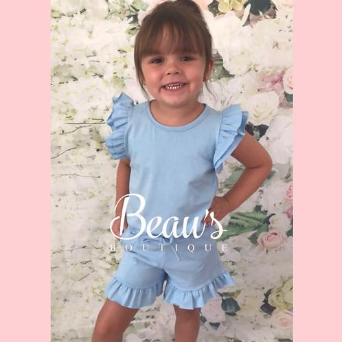 Baby blue ruffle shorts set