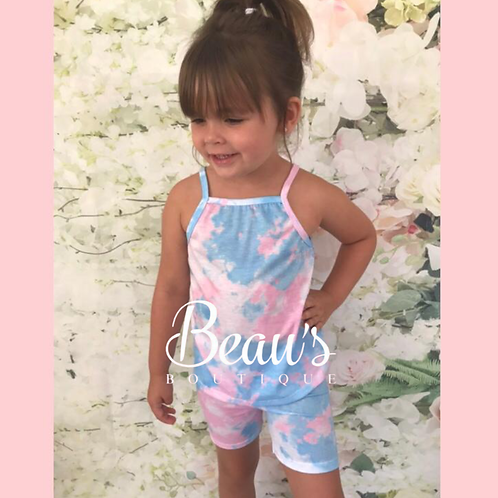 Blue/pink vest top shorts set