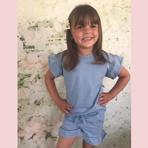 Baby Blue Ruffle Sleeve Shorts Set