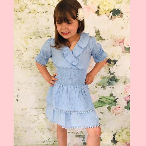 Baby Blue Pom Dress