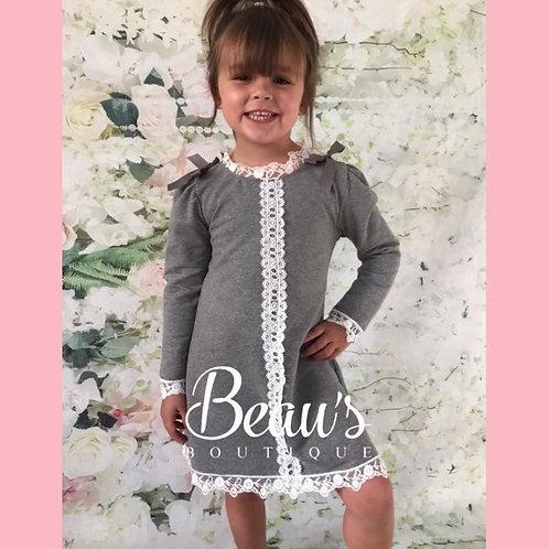 Lace trim bow dress