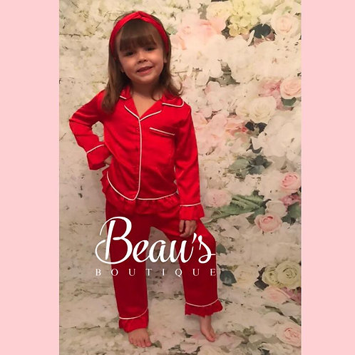 Red Silky PJS with head band