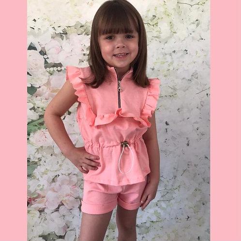 Pink Ruffle Zip Shorts set