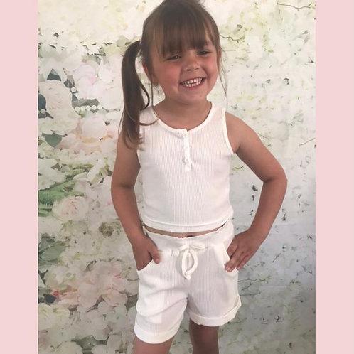 White Vest Shorts Set