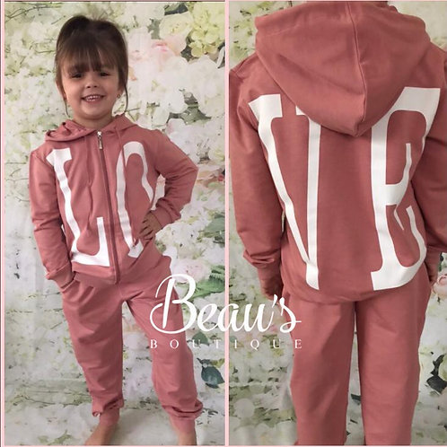 Pink Love Zip up Lounge Set