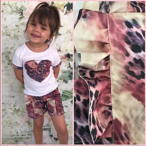 Animal heart print shorts set