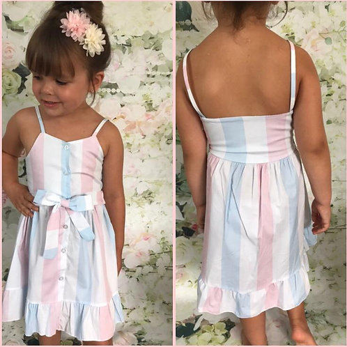 Candy stripes tie/bow dress