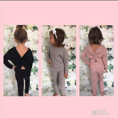 Cosy knit cross over lounge set