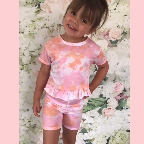 Pink/Orange Tie Dye Shorts Set