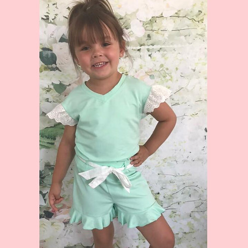 Mint/White Shorts Set