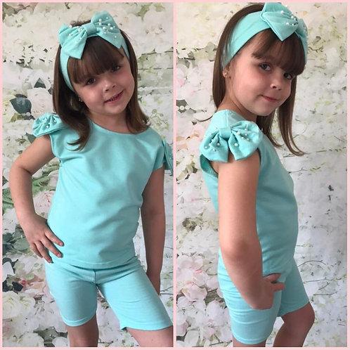 Aqua Pearl Shorts set with matching headband