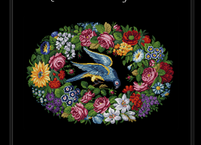 Exotic Bird in a Floral Garland