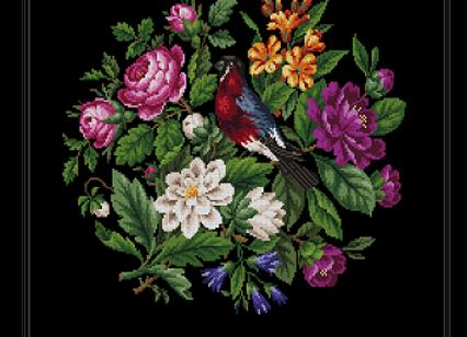 Antique Floral Bird