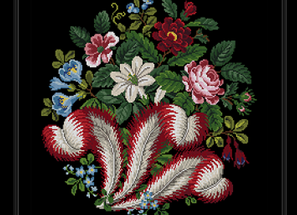 Victorian Red Plumes and flower bouquet