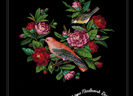 Antique Birds and Roses