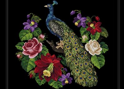 Antique Peacock Amidst Cactus and Rose