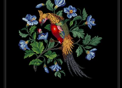 Antique Berlin Woolwork Golden Pheasant