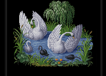 Antique Two Swans