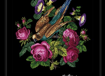 Antique Parrot in Roses