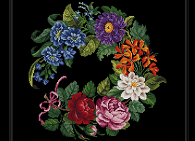 Antique Oval  Wreath Flowers