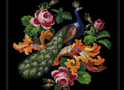 Peacock and Scrolling Roses