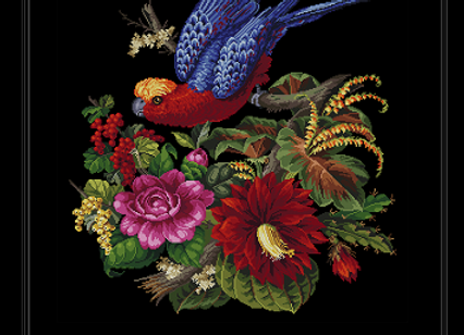 A Parrot With Cactus and Other Flowers