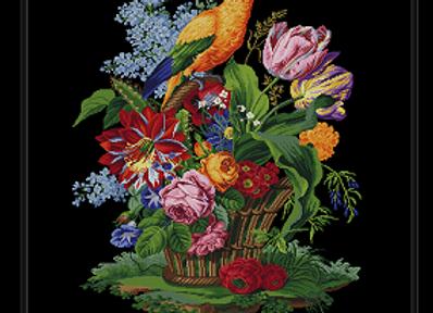 Antique Floral Basket in Parrot