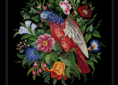 Antique Floral Parrot