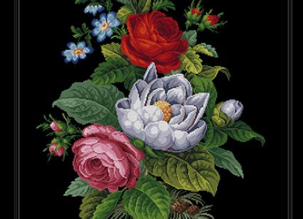 Antique Still life, summer flowers