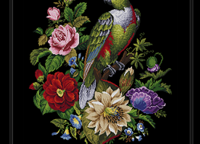 Parrot in Cactus Poppy and Rose