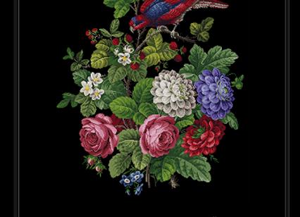 Scene of birds and flowers