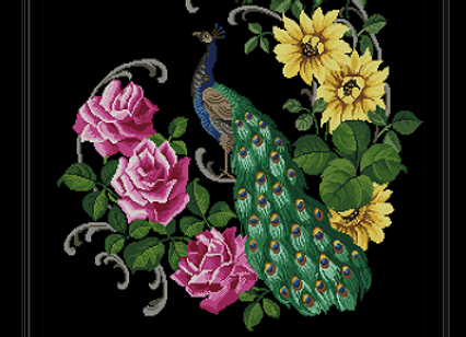 Antique Floral Peacock