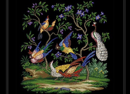 Exotic Birds and Flowering Trees