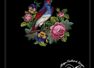 Antique Parrot on Flowers