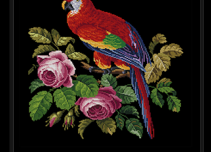 A Parrot Perched on a Rose Bush
