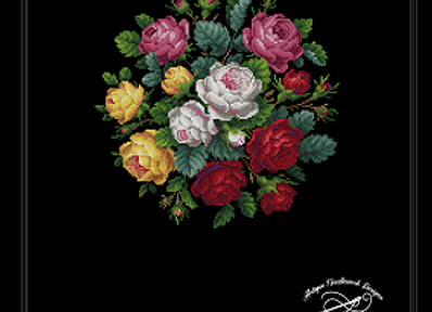 Pink, Crimson, Yellow and White Roses