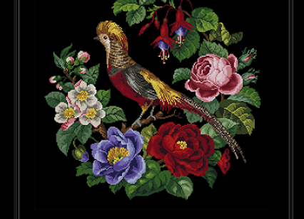 Antique Oval Floral  Golden Pheasant
