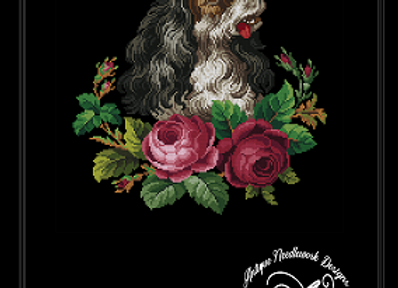 Spaniel  Dog a Wreath of Roses