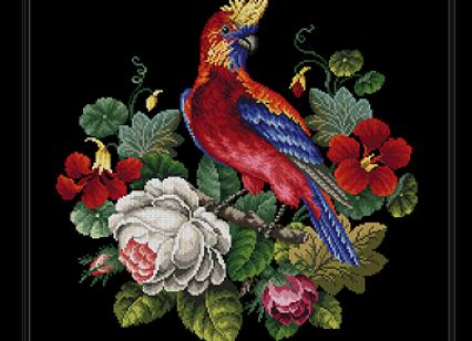 Parrot in Nasturtium and Rose Bouquet