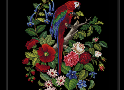 Victorian Berlin  Parrot & Flowers