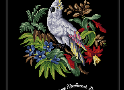 Antique Berlin Floral Cockatoo