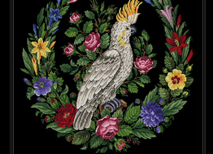 A Floral Wreath and Cockatoo Parrot
