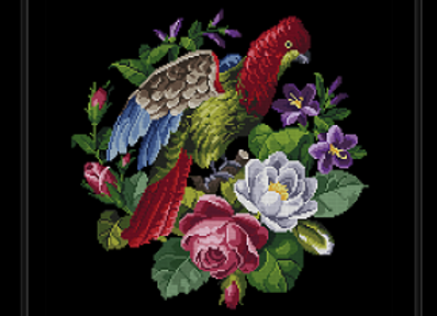 Antique Flowers and Parrot