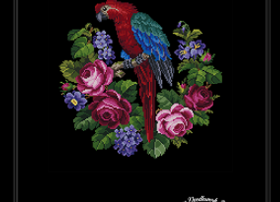 Parrot on Roses and Flowers