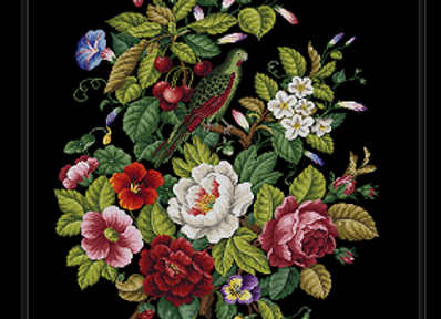 Flowers and a Parrot