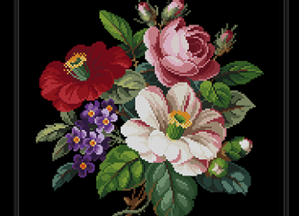 Pink rose,Red and Purple Flowers