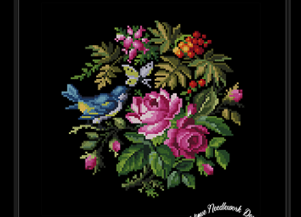 Roses, Greenery and a Bluebird